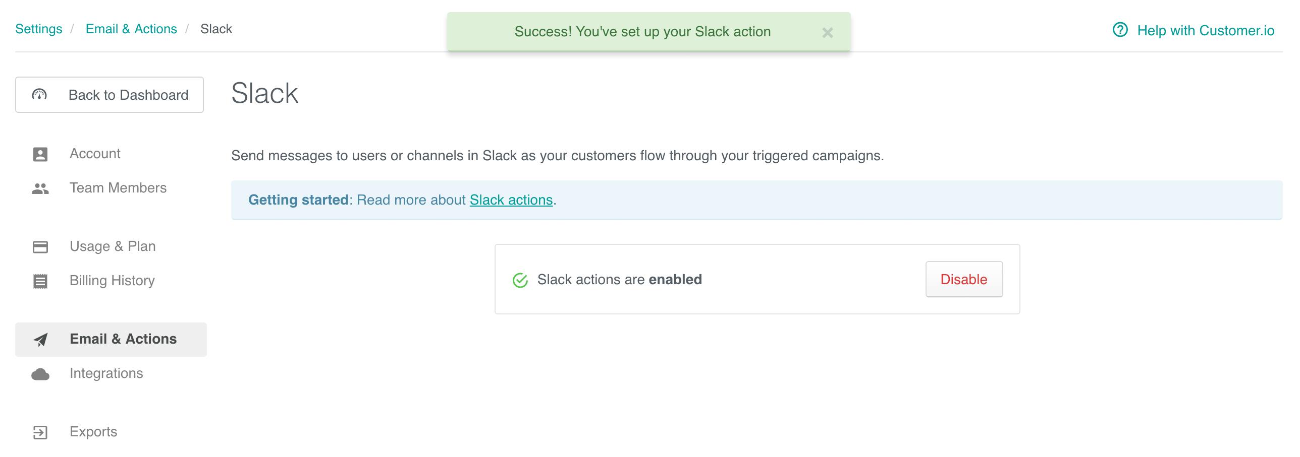Slack configuration - get started