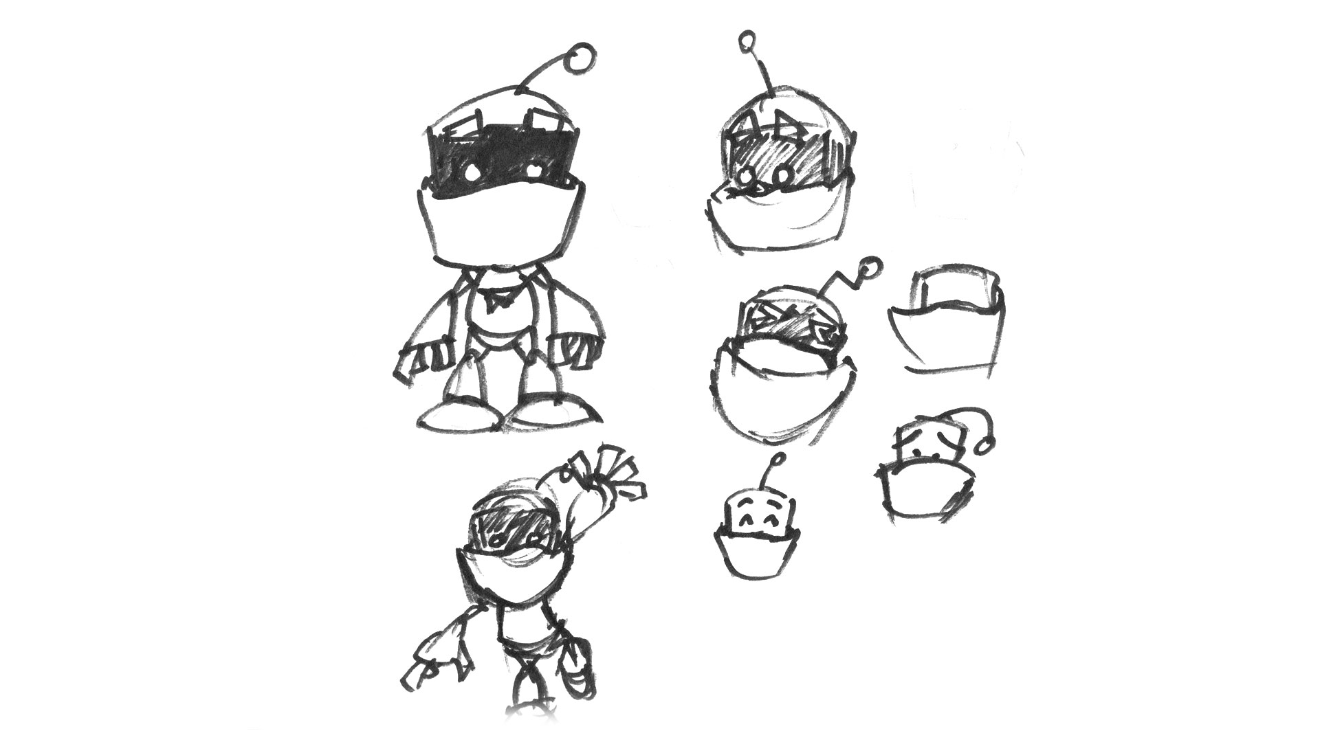 A collection of Customer.io robot mascot drawings.