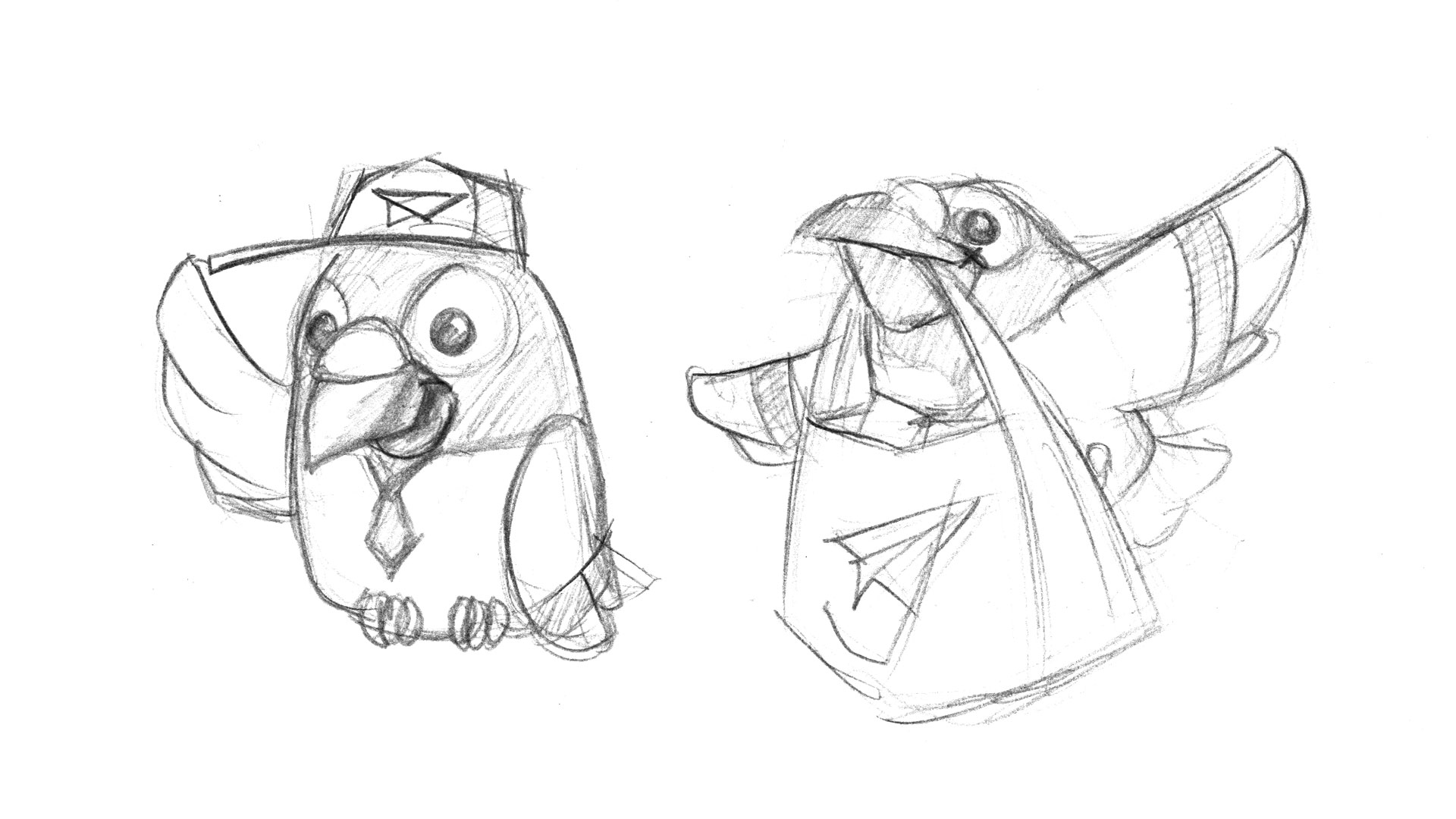 The earliest sketch of a possible pigeon mascot for Customer.io.