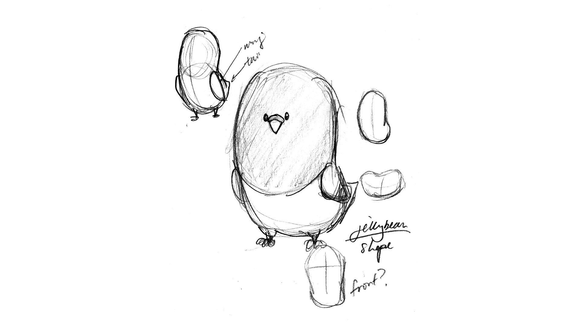 "A sketch of ""Jellybean"" - The design that eventually inspired Customer.io's final mascot design."