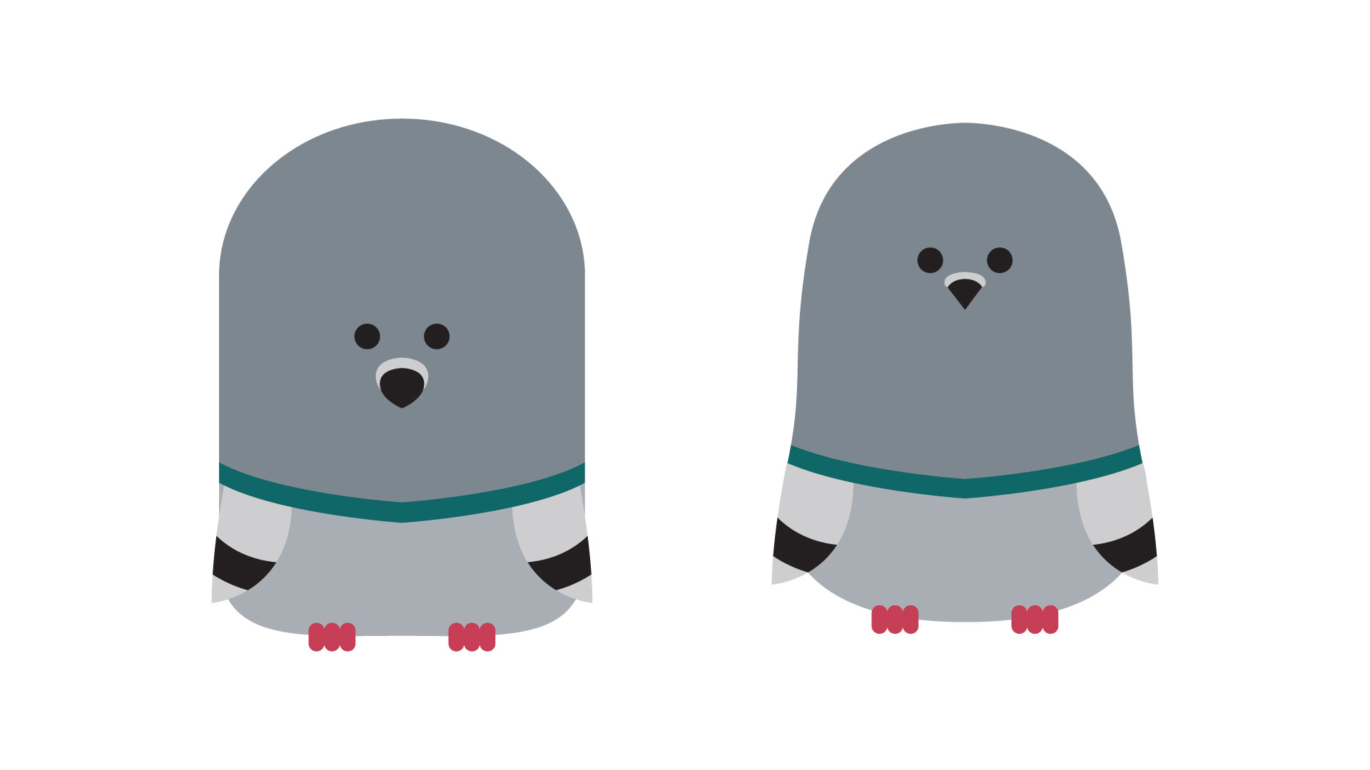 "The transition from the ""bullet"" shaped Jellybean pigeon to the final pigeon design."