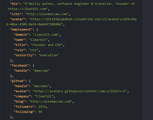 Clearbit enrichment API returning data points example