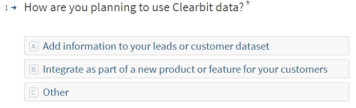Clearbit customer survey