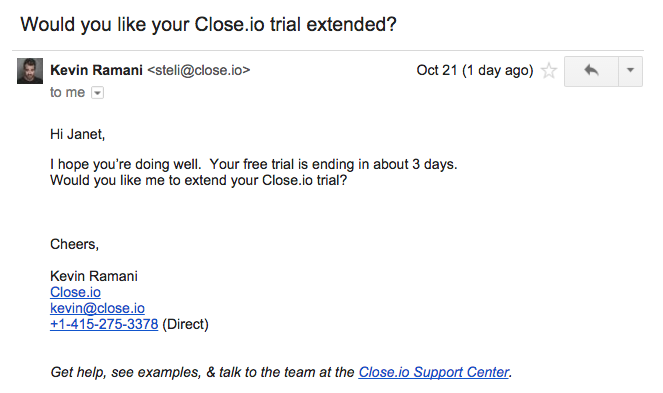 Close.io trial extention triggered email
