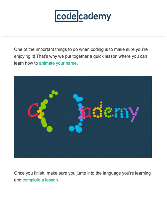 Codecademy onboarding message