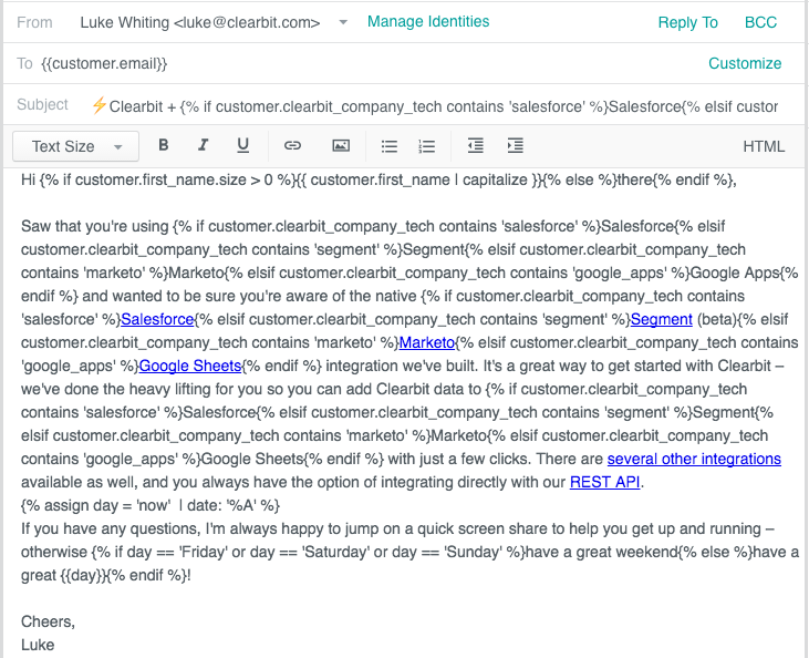 clearbit onboarding email using liquid