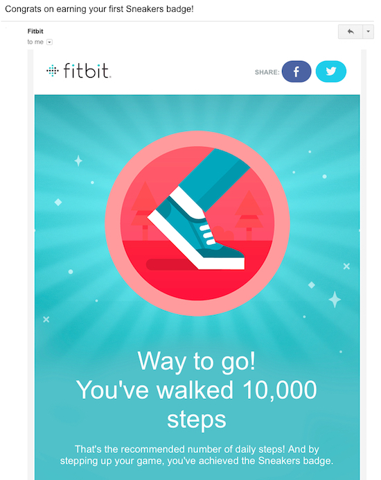 Fitbit progress milestone email
