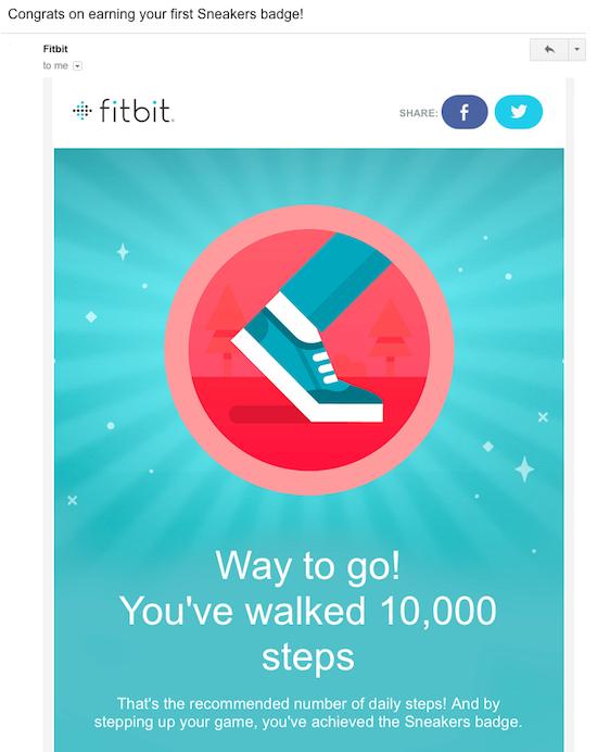 Fitbit progress milestone email
