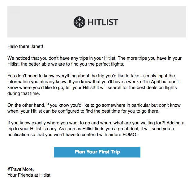 Hitlist onboarding behavioral email