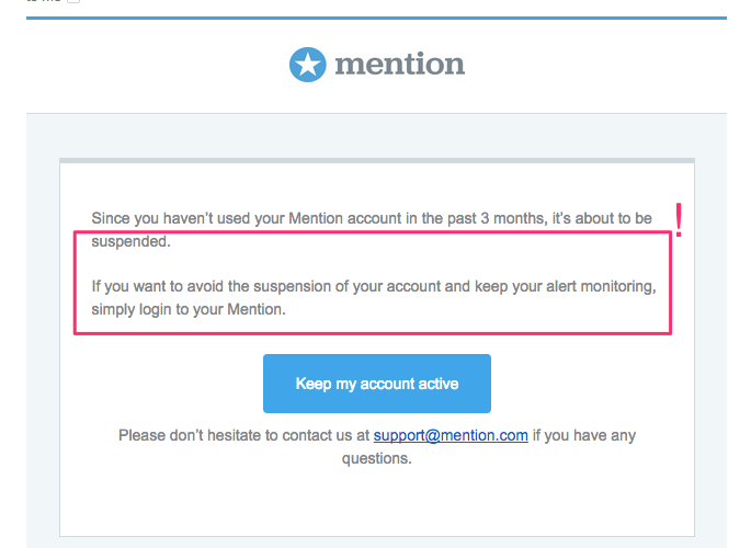 Mention retention email