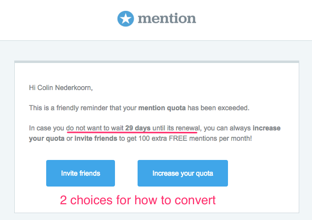 Mention upgrade behavioral email