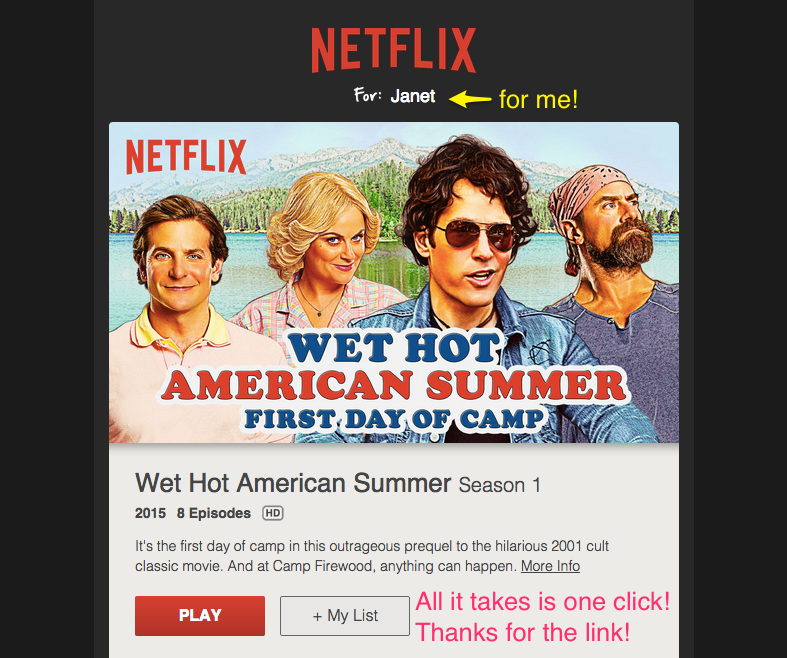 Netflix recommendation email