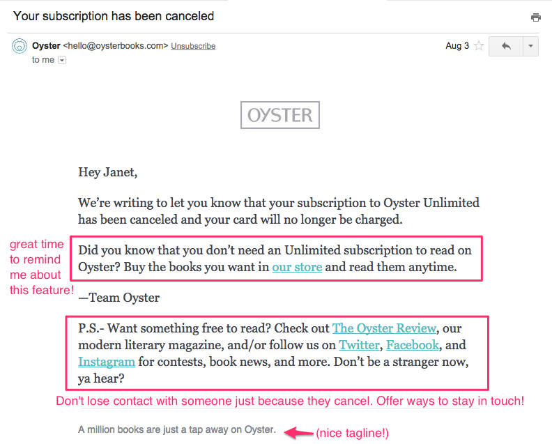 7 emails that keep customers coming back for more customer oyster cancellation email thecheapjerseys Images