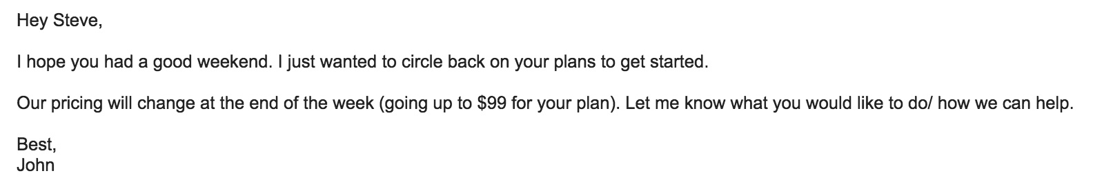 personal follow-up active sales email