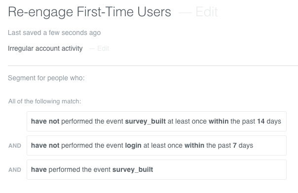 Reengage new users sample segment