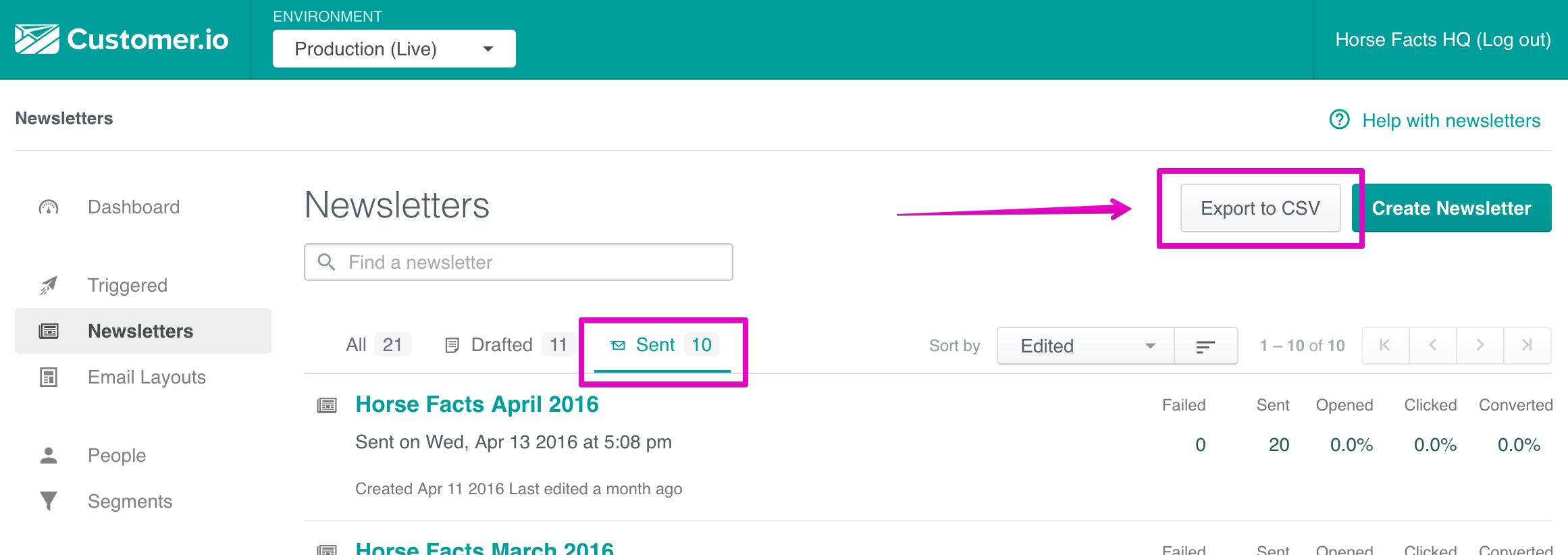 How to do bulk newsletter exports
