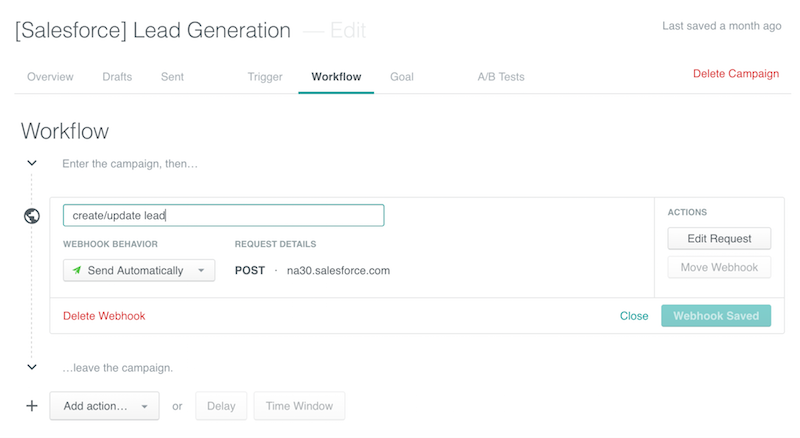 webhook action workflow setup