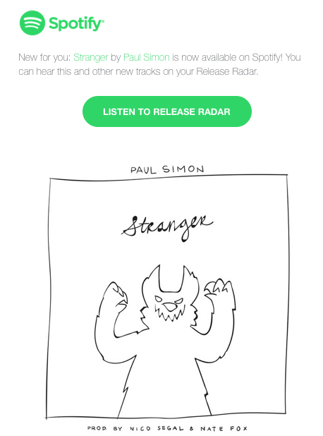 Spotify notification email