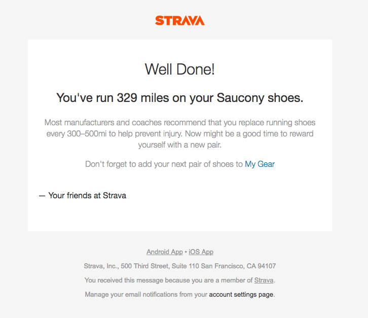 Strava app milestone retention email