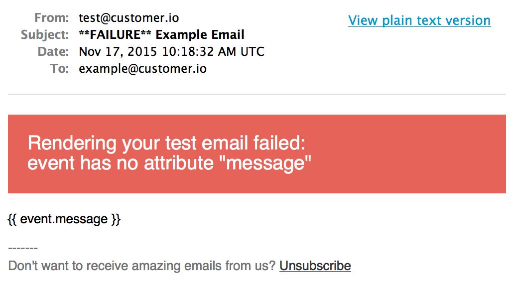 Test email error