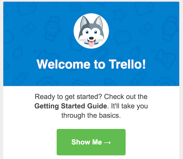 Trello welcome CTA