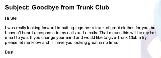 Trunk Club break-up email campaign