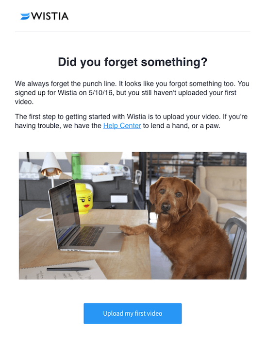 Wistia reminder onboarding email