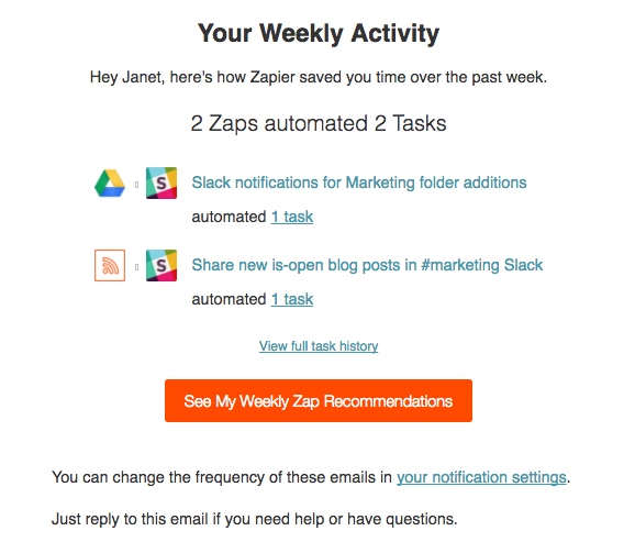 Zapier weekly activity summary