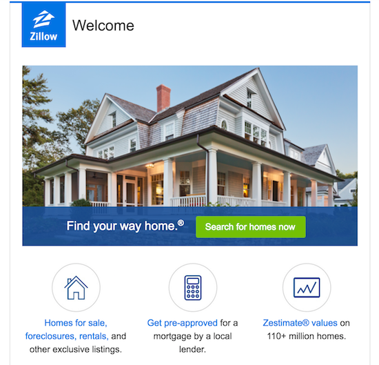Zillow welcome email